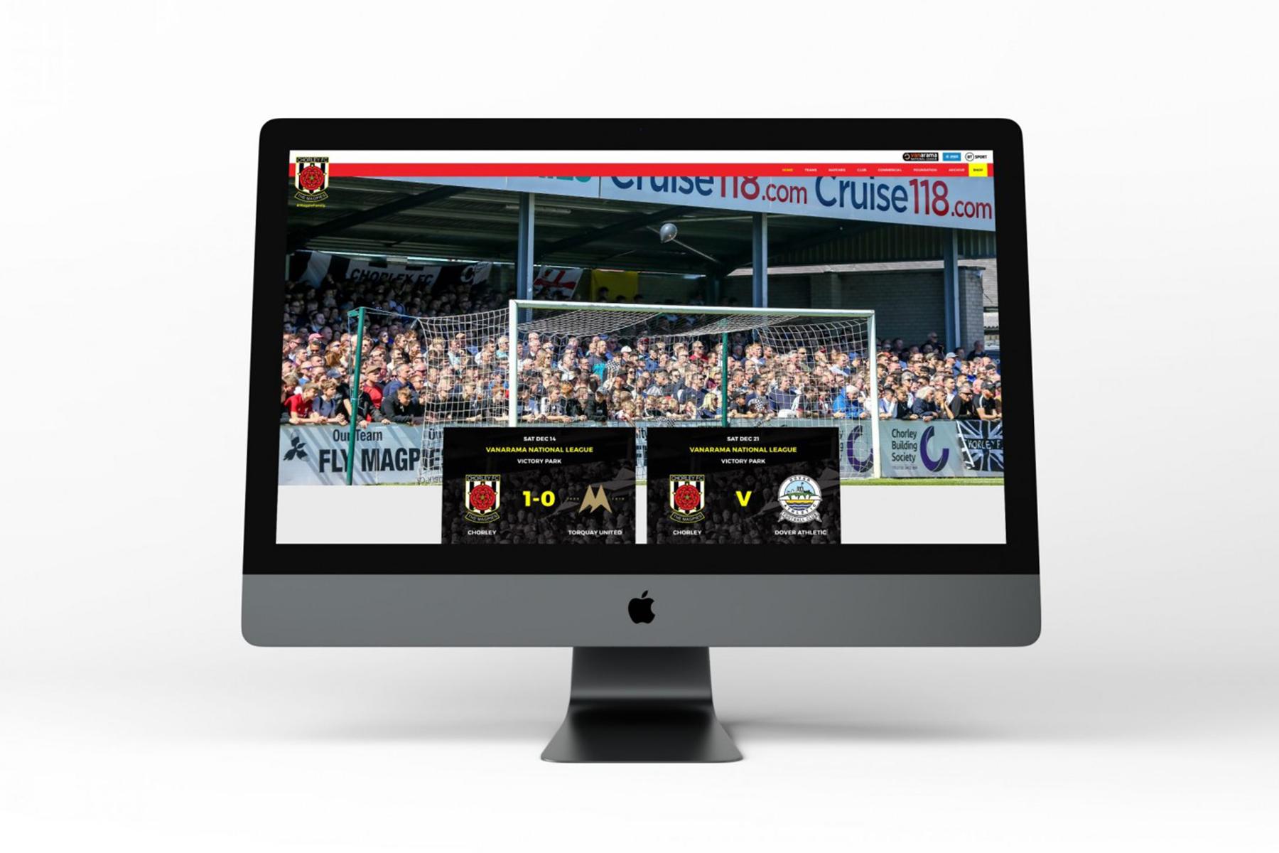 Chorley FC web design homepage