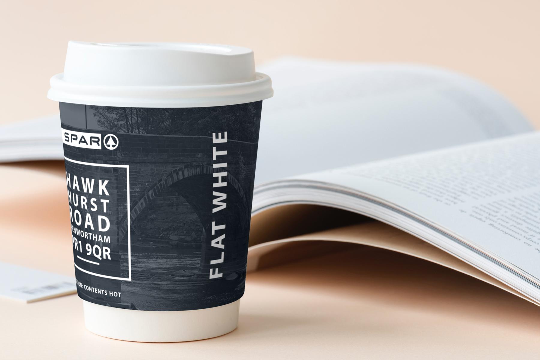 spar hawkhurst road flat white coffee cup
