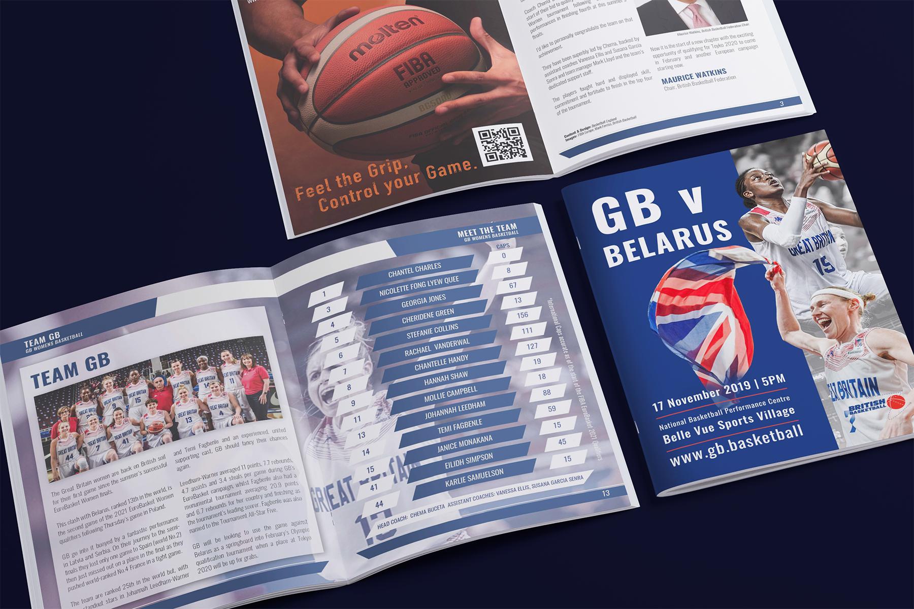 British Basketball programme GB vs Belarus