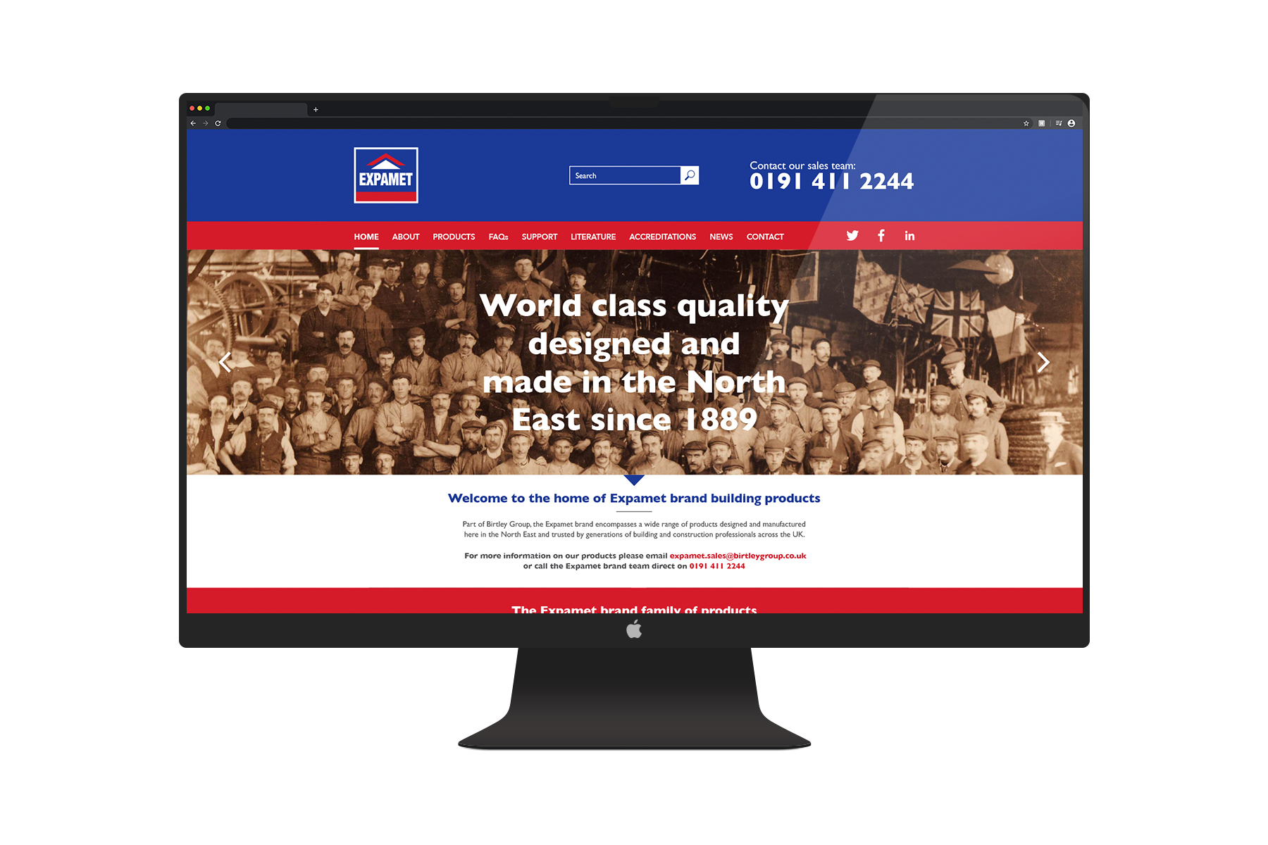 Expamet web design home page