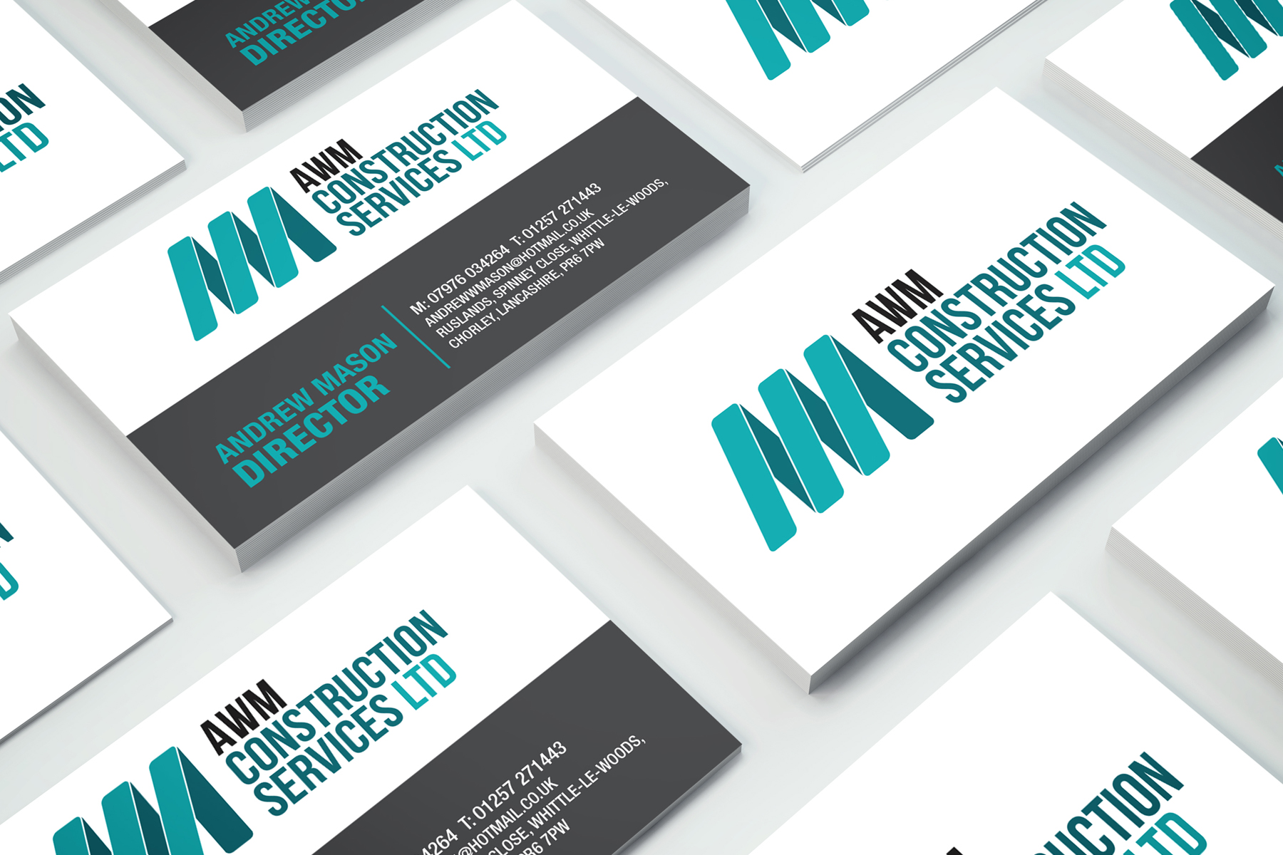 awm construction business card