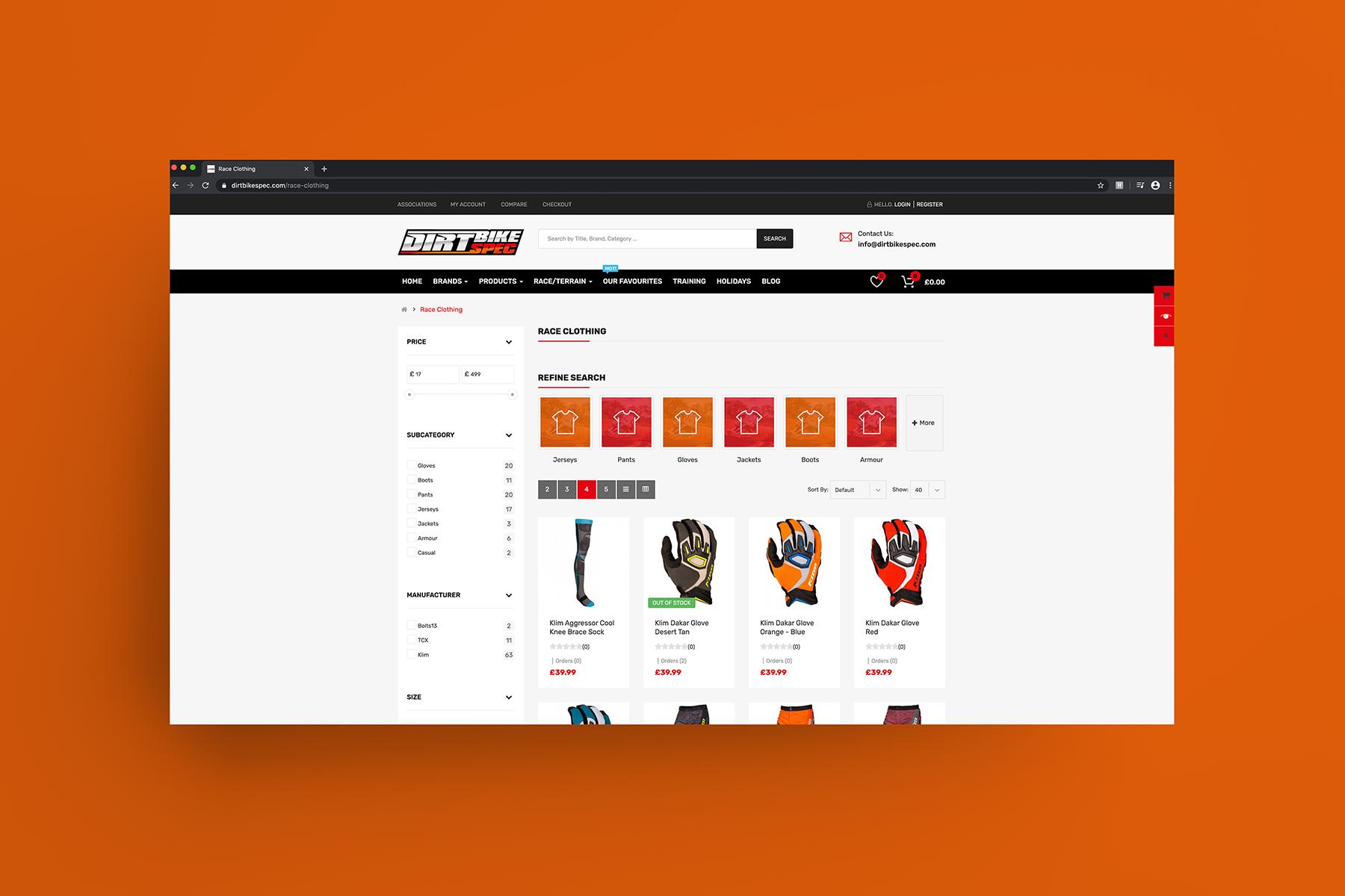 DirtBikeSpec Website Design and Branding